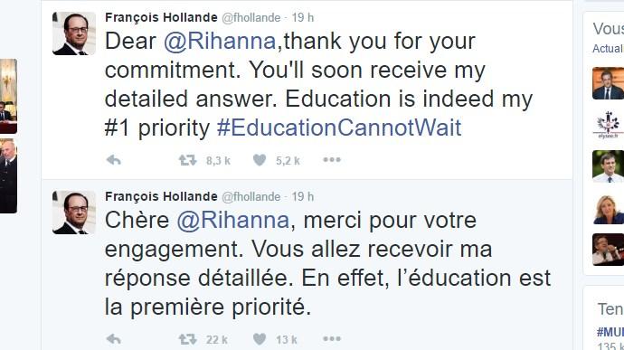 Hollande se fait remonter les bretelles par Rihanna