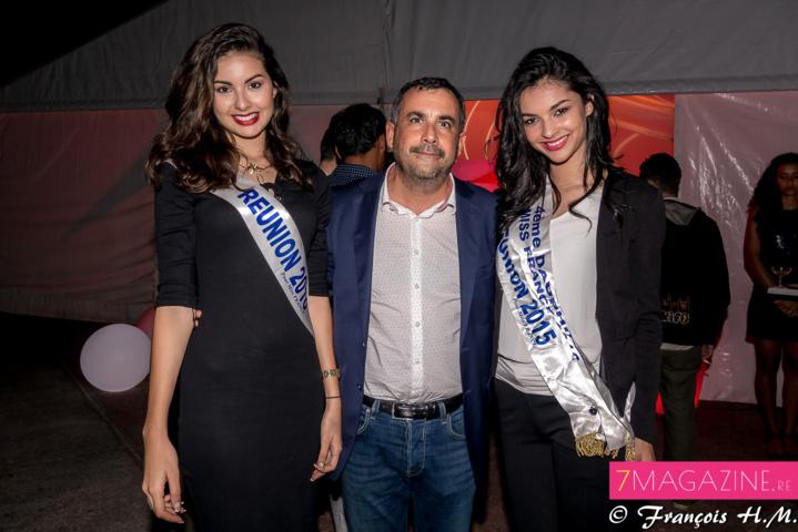 Le directeur de la SHLMR entre deux Miss Réunion, Ambre N'guyen et Azuima Issa