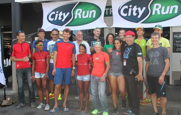 Plusieurs champions étaient à Run-City pour l'inauguration d'un nouveau magasin City.