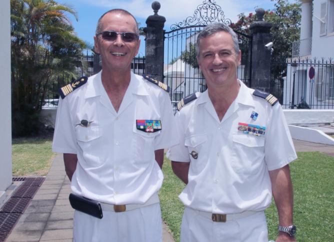 Bernard Salva, président IHEDN, et le lieutenant-colonel François Monard, commandant le Détachement 181