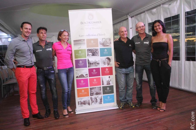 Le staff d'organisation du Trail 5 Etoiles, avec notamment Olivier Lagane et Arianne Bellepeau du groupe Beahcomber, Chris Hamer directeur de cours et ses assistants