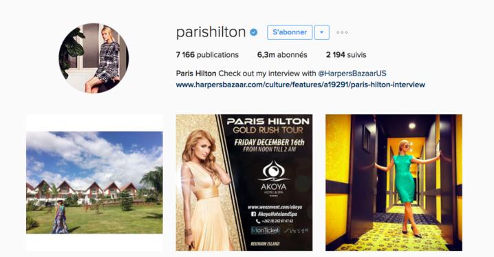 Photo: capture d'écran Instagram Paris Hilton