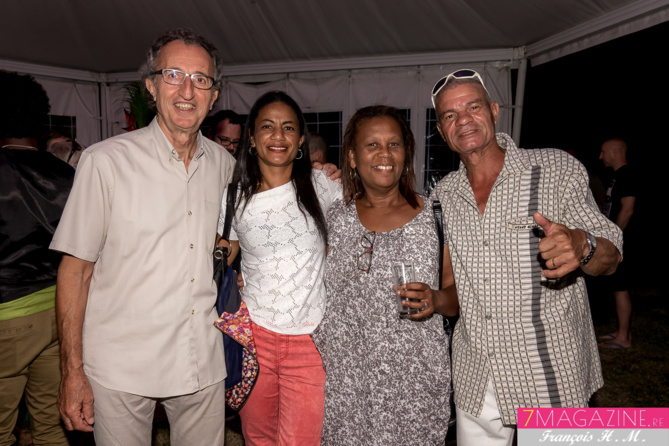 Alain Courbis, une invitée, Louisette Lombe, éditrice, et Patrick Lartin