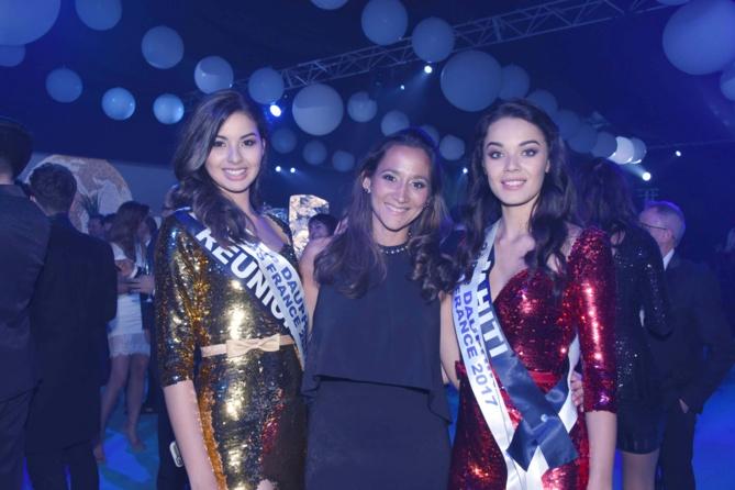 Léiana Faugerat, déléguée Miss France pour Tahiti, avec Miss Réunion et Miss Tahiti