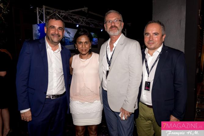 Oliver Bajard, Nadia Ramassamy, conseillère régionale, Pascal Montrouge et Bernard Faille, directeurs des Théâtres Départementaux