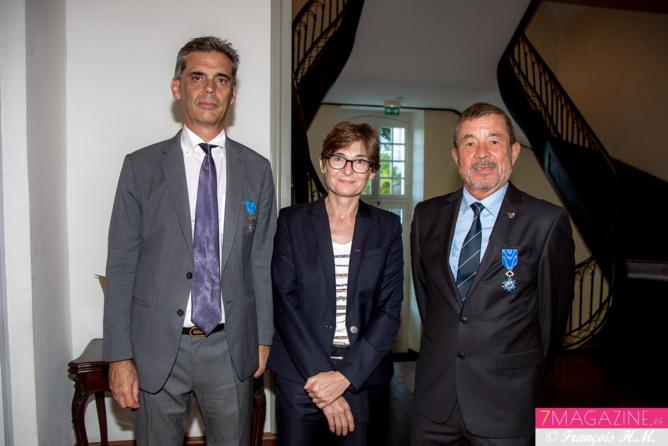 Dominique Sorain, Christine Geoffroy, sous-préfète de Saint-Benoît, et Jacques Laravine