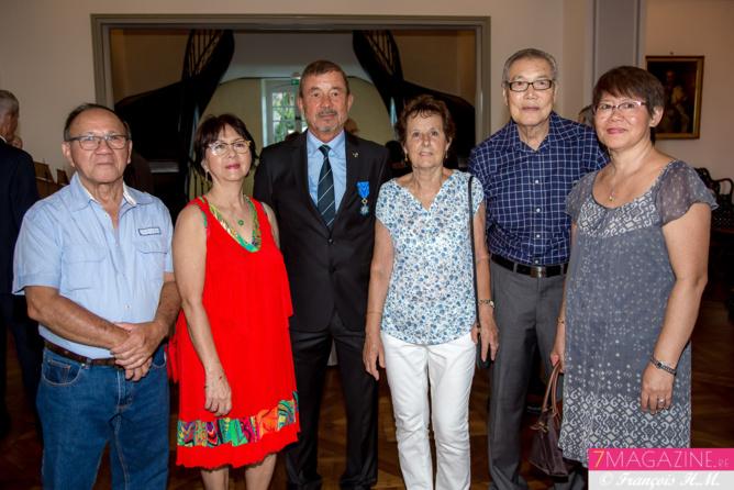 René Laï-Yu et son épouse Marie, Jacques et Lise Laravine, Georges Tsang Wong U et son épouse Madeleine