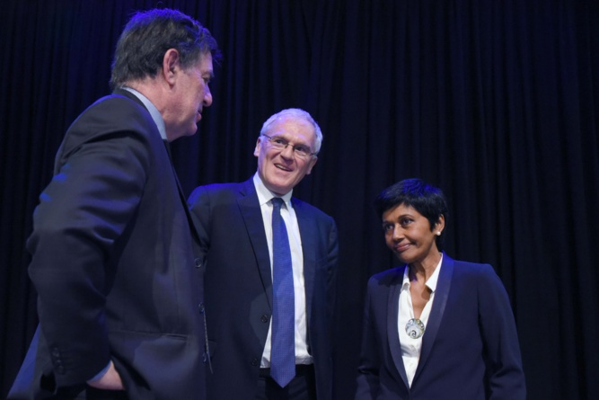 Jean-Pierre Philibert, Jean-Bernard Lévy et Ericka Bareigts. L'autosuffisance énergétique et les solutions d'énergies renouvelables sont au cœur de la politique de demain pour les Outre-mer
