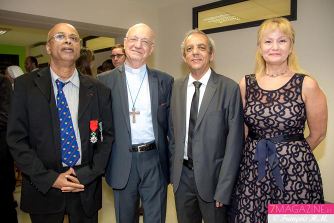 Mario Serviable, Monseigneur Aubry,  Raoul Lucas et son épouse Marie