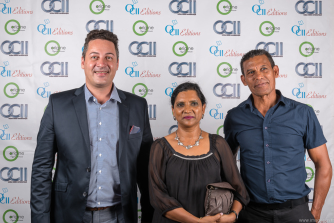 Laurent Payet, ingénieur commercial OCII,  Céline Rafougilet de la CAF Réunion