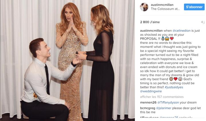 Céline Dion au coeur d'une demande en mariage