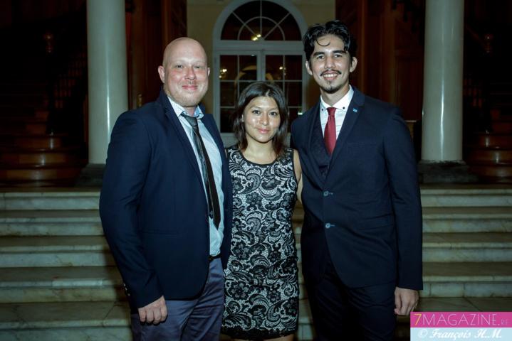 Fabien Huet, président régional JCE, Christelle Chon Nam, administratrice nationale, et Jean-Max Boyer