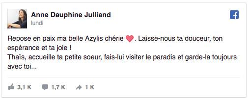 Anne-Dauphine Julliand: sa deuxième fille malade s'est éteinte aussi