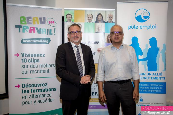 Michel Swieton, Directeur Régional Pôle Emploi, et Didier Fauchard, Président MEDEF Réunion
