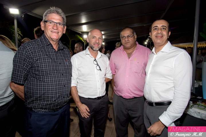 Bernard Siriex, Président FRBTP, Dominique Roussel, Directeur Zone Océan Indien Adecco, Arzou Mahamadaly, directeur de la Sogecore, et Fabrice Hanni Aqualo