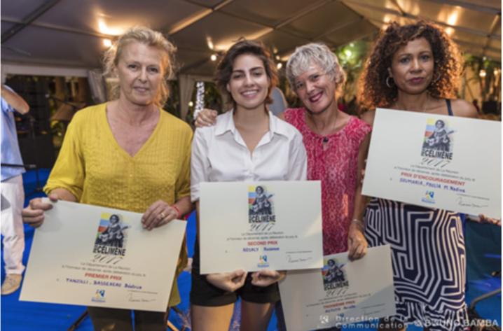 Béatrice Tanzilli-Bassereau, Prix Célimène, Rosanne Rosaly, 2ème Prix, Arielle Astuto, 3ème Prix, et Nadine Soumaria-Poulia, Prix d'Encouragement (photo Bruno Bamba)