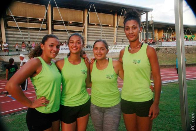Les filles du CA Plaine des Cafres, victorieuses sur le relais 4X100m