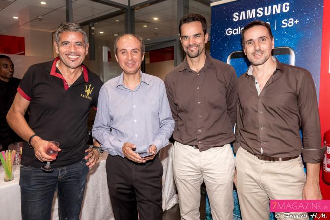 Marc Besnarous de SDTA, Bobby, Rodolphe Rivière, chef de projet digital SFR Réunion, et Arnaud Serron