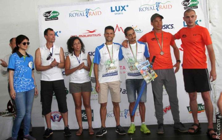 Le podium des 15km avec Raymond Fontaine en chef de file