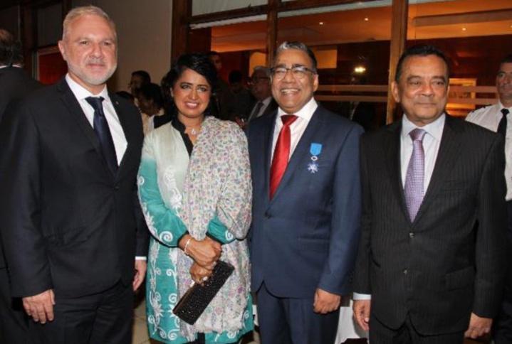 Gilles Huberson, Ameenah Gurib-Fakim, présidente de la République de Maurice, Donald Payen, et Ivan Collendavelloo, Premier Ministre adjoint
