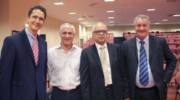 Philippe Jean Pierre, conseiller régional, Philippe Gris, directeur général de Dataprint, Didier Fauchard, président du MEDEF, et Alain Brana, secrétaire général de Groupama