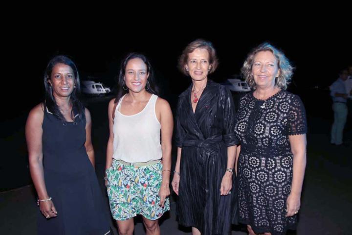 Gertrude Carpanin, conseillère départementale, Patricia Locame, présidente de l'OTI-Ouest, Cécile Pozzo Di Burgo, Préfète des TAAF, et Fabienne Couapel-Sauret