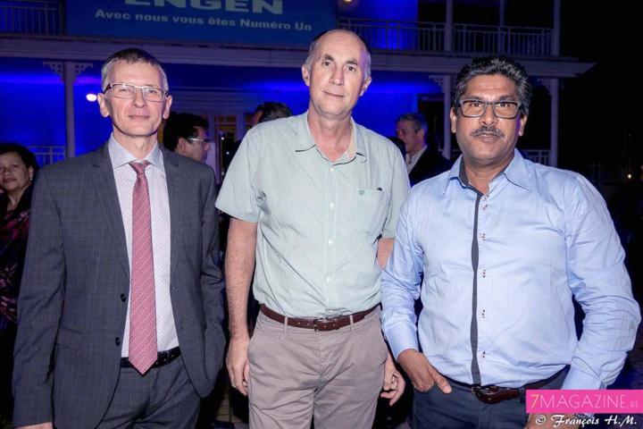 Hervé Maziau, directeur général Engen Réunion, Daniel Moreau, président de Royal Bourbon Industries et de l'ADIR, et Patrick Sihou, marketing manager chez Leclerc