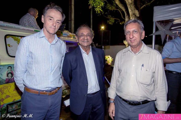 Christophe Ducasse, directeur général Antenne Réunion, Abdéali Goulamaly, PDG du groupe Océinde, et Aziz Patel, rédacteur en chef 7Magazine.re et délégué Miss France