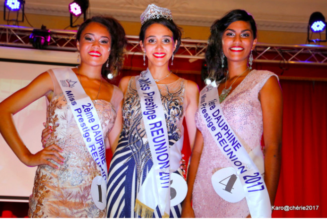 Audrey Noël 2ème dauphine, Enola Fregence Miss Prestige Réunion 2017 et Cyrielle Soupramayen 1ère dauphine