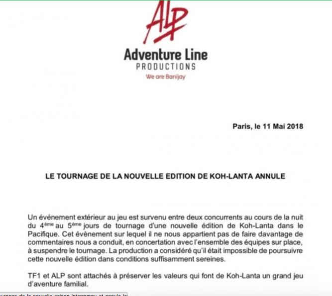 Koh Lanta suspend le tournage de la nouvelle saison...