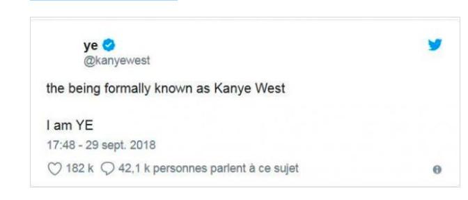 """Sur Instagram il affirme : """" Je suis YE"""""""