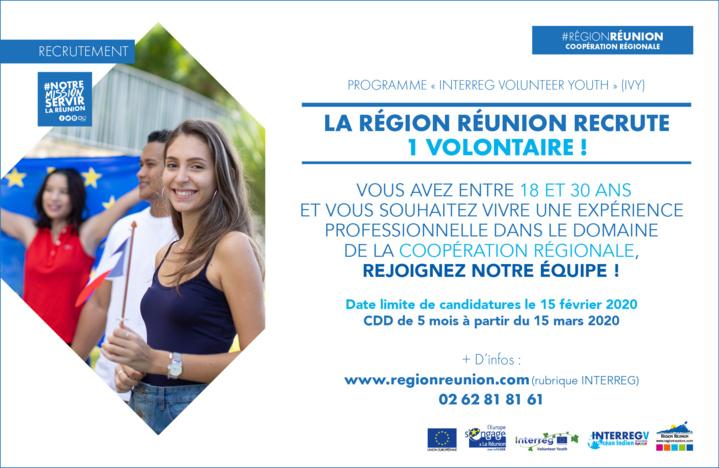 La Région Réunion recrute 1 volontaire dans le cadre de l'initiative Interreg Volunteer Youth (IVY)