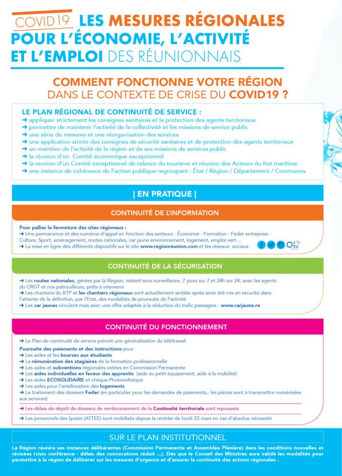 Les mesures régionales pour l'économie, l'activité et l'emploi des Réunionnais