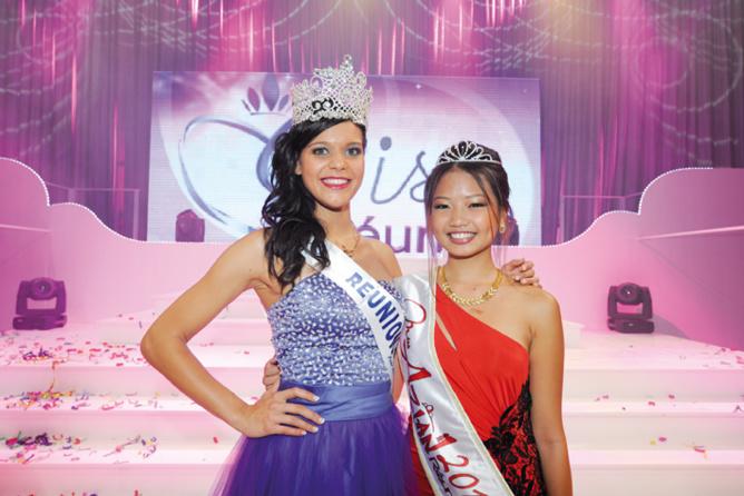 Avec Vanille M'Doihoma lors de la finale Miss Réunion...