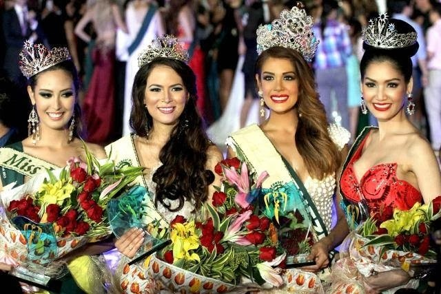 Les 4 gagnantes du concours, Miss Earth, Miss Water, Miss Fire et Miss Air