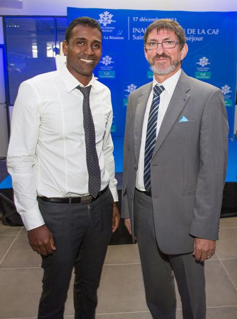 Frédéric Narassiguin, 1er vice-président du conseil d'administration de la CAF  de La Réunion, et Jean-Louis Deroussen