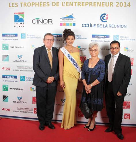 Dominique Fournel, vice-président de la Région, Miss Réunion, Marie-Renée Fournel et Ibrahim Patel