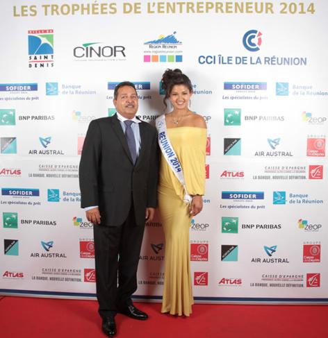 Mickaël Martin, directeur de la Nordev et Miss Réunion