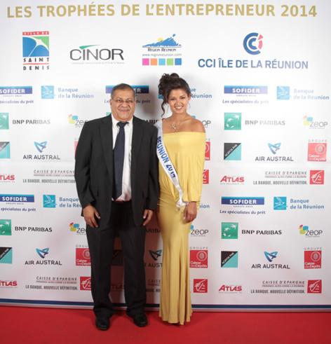 Arzou Mahamadaly, directeur de la Sogecore et Miss Réunion