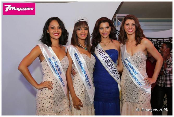 Vanessa Robert entourée de ses deux dauphines et de Vanille M'Doihoma, Miss Réunion 2013