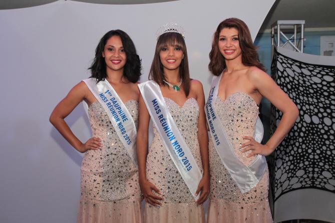Tracy Paris, 1ère dauphine, Vanessa Robert, Miss Réunion Nord, et Julie Hoarau, 2ème dauphine