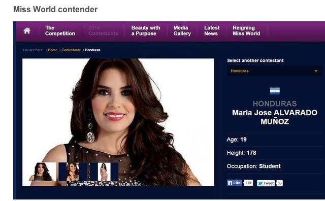 Capture d'écran du site Miss Monde