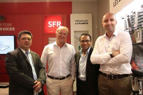 Luc-Guy Fontaine, Bertrand Guillot, Ibrahim Patel, et Eric Gourlaouen, directeur commercial SFR