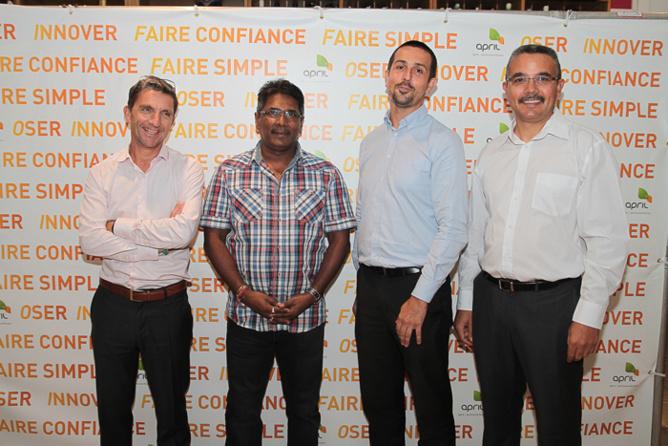 Michel Petiot, Bernard Soupou, Arnaud Touzeau, directeur des Opérations, et Jean-Marc Luc, chef comptable d'April Partenaires Réunion