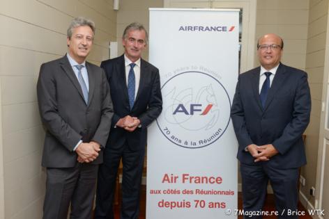 Le Directeur Général Caraïbes, Océan Indien et Amérique Latine d'Air France Zoran Jelkic, le Président Directeur Général d'Air France, Frédéric Gagey et le Directeur Régional Océan Indien de la compagnie, Frédéric Alory