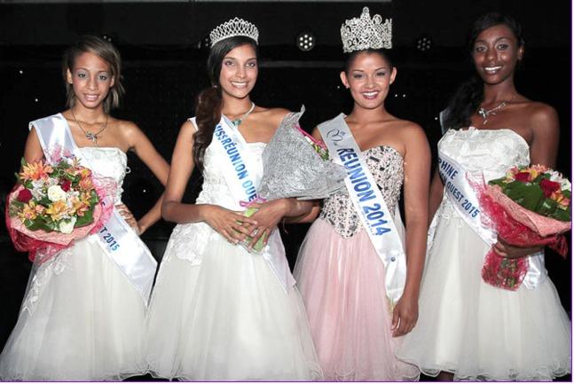 Farida Gombert, Miss Réunion Ouest, et ses dauphines avec Miss Réunion 2014, Ingreed Mercredi