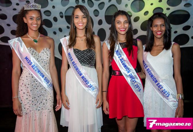 Les quatres qualifiées pour Miss Réunion 2015: Steacy Sarpedon, Miss Réunion Sud ,Vanessa Robert, Miss Réunion Nord, Farida Gombert, Miss Réunion Ouest, et Ornella Serveau, Miss Réunion Est