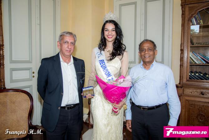 Aziz Patel, délégué Miss France, Miss Réunion 2015 et le maire de Saint-Denis