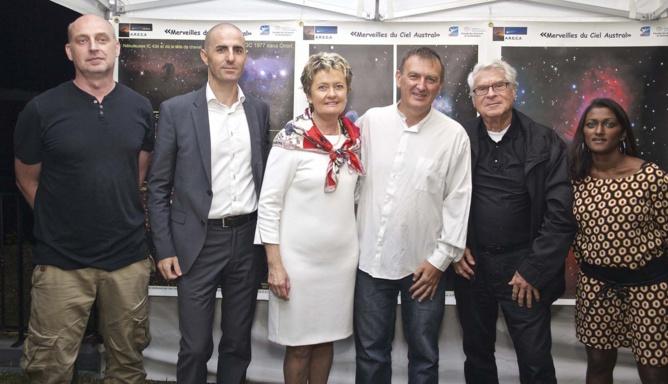 Luc Perrot, Geoffrey Serra, Anne Lampert, directrice du Diana Dea Lodge, Fabrice Ach, Gérard Hessler, et Emmanuella Anepadeatchy