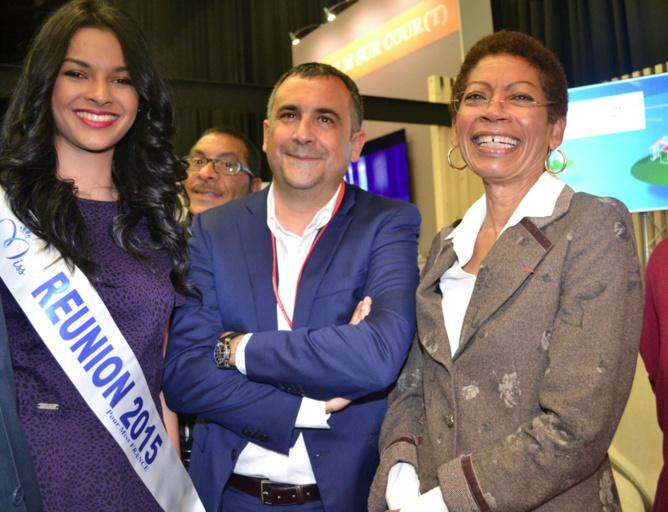 Azuima Issa, Miss Réunion 2015, Olivier Bajard, directeur de la SHLMR et George-Pau Langevin, Ministre des Outre-Mer